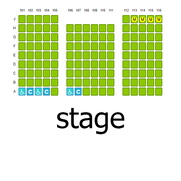 Proscenium 3 section seating chart